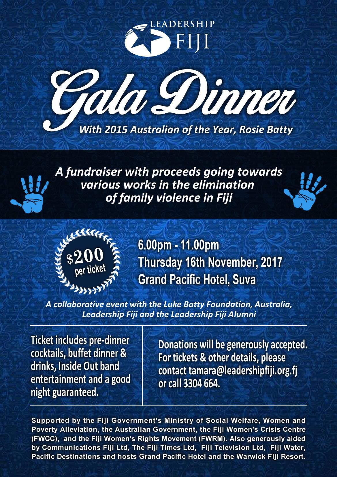 Leadership Fiji Gala Dinner 2017 Flyer